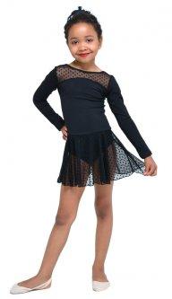 Купальник для гімнастики і танців Little Dancer DR-2088-BK чорний розмір 30 ( ріст 110-116 см)