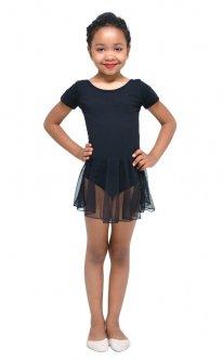 Купальник для гімнастики і танців Little Dancer DR-2089-BK чорний розмір 32 ( ріст 122-128 см)