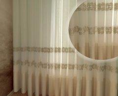 Тюль Декор-Ин Барселона Светло-бежевый с льняной полоской вышивка на льне 255х300 (Vi 100123) (ROZ6400050318)