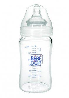 Пляшечка жаростійкий скляний Bebedor з широкою шийкою, силіконова соска 3+ 180 мл (47322)