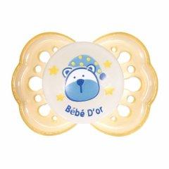 Пустушка Bebedor ортодонтична силіконова світиться в темряві від 3 до 6 місяців жовта (152)