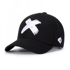 Кепка бейсболка Черная (Крестик Белый), Унисекс