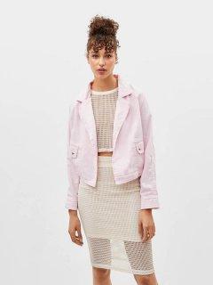 Джинсовая куртка Bershka 1271-019-142 XS Нежно-розовая (01271019142015)