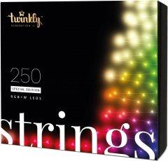 Светодиодная Smart LED гирлянда Twinkly Strings RGBW 250, BT+WiFi, Gen II, IP44, кабель черный (TWS250SPP-BEU)