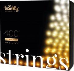 Светодиодная Smart LED гирлянда Twinkly Strings AWW 400, BT+WiFi, Gen II, IP44, кабель черный (TWS400GOP-BEU)