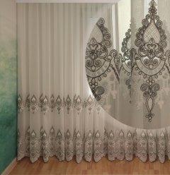 Тюль с купоном Декор-Ин Индиана Бело-серая с вышивкой на бамбуке 250х500 (Vi 200521) (ROZ6400051980)