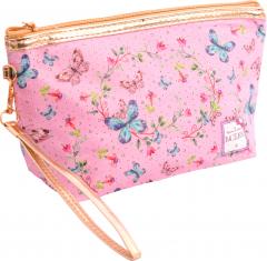Косметичка с принтом Lukky 23.5 х 6.5 см Розовая с бабочками (T17837)
