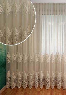 Тюль с купоном Декор-Ин Индиана Белая с вышивкой на бамбуке 290х400 (Vi 200549) (ROZ6400052008)