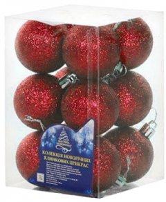 Набор елочных шаров NewYEAR 4 см 12 шт Красный (8104-4 red)