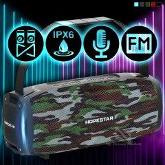 Портативна колонка Hopestar H24 pro музична з Bluetooth і гучним звуком і вологозахист IPX6 - Портативна акустична USB система + потужний гучномовець блютуз + SD + TWS + FM-радіо, Камуфляж