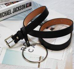 Ремень Пояс City-A Belt 105 см PU Кожа с подвеской Кольцом пряжка Квадратом Черный