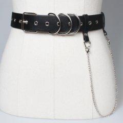 Ремень Пояс City-A Belt 105 см PU Кожа с Цепочкой и 3 Кольцами Черный