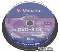 Verbatim DVD+R 8.5 GB DL 8x Cake 10 шт (43666)