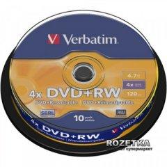 Verbatim DVD+RW 4.7 GB 4x Cake 10 шт Silver (43488)