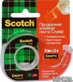 Клейкая лента Scotch Crystal в мини-диспенсере 19 мм х 7.5 м Прозрачная 1 шт (6-1975)