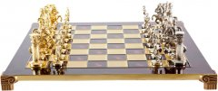 Шахматы Manopoulos Греко-римские, латунь, в деревянном футляре, красный, 44 х 44 см, 5.9 кг (S11RED)
