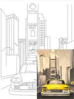 "Холст Rosa Start Город ""Нью-Йорк"" на картоне с контуром 30 х 40 см (4820149889931)"