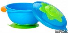 """Тарелка для СВЧ-печи на присоске с крышкой """"Улёт! Посуда!"""" Nuby Синяя (5322(blue))"""