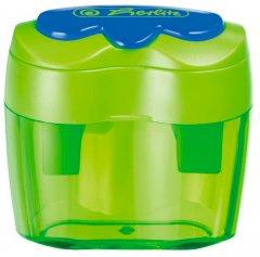 Точилка Herlitz Double с контейнером 2 отверстия Зеленая (10921112G)