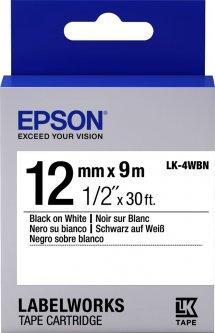 Картридж с лентой Epson LabelWorks LK4WBN Standart 12 мм 9 м Black/White (C53S654021)