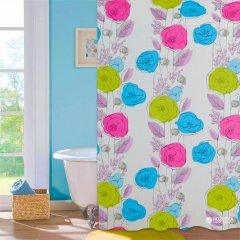 Шторка для ванной Мій Дім Colorful flowers 180х180 cм NJ10108