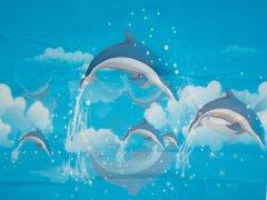 Шторка для ванной KORNEL Дельфин 180х180 KL-41