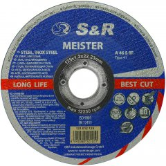 Круг отрезной S&R Meister A46S BF по металлу/нержавейке 125x1.2x22.2 мм (131012125)