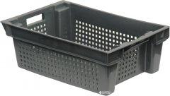 Ящик пластиковый перфорированный Полимерцентр 600х400х200 мм Черный (N6420R-2-BK)