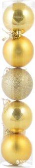 Набор елочных шаров Новогодько (YES! Fun) 60 мм 5 шт Золотистый (972579) (5056137103881)
