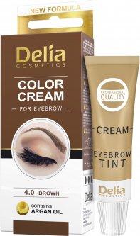 Крем-краска для бровей Delia cosmetics с маслом арганы 4.0 Коричневый 15 мл (5906750826004)