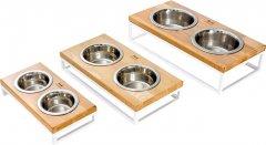 Подставка на две миски для собак и кошек Harley and Cho S 0.45 л 7 см Натуральная с белым (3300017)