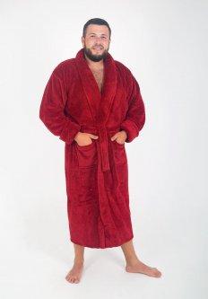 Халат мужской махровый Бордовый без капюшона (Турция) Tomiko 3XL (3205)