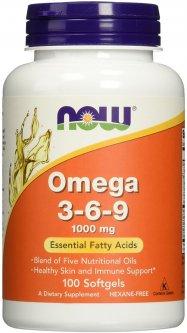 Жирные кислоты Now Foods Омега 3-6-9 1000 мг 100 желатиновых капсул (733739018359)
