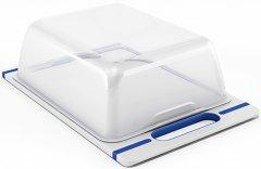 Разделочная доска с крышкой Stefanplast Italian Chef Top Line 34x22 см бело-синяя (51613)