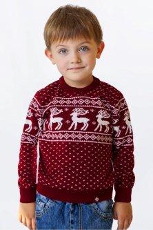 Свитер Рождественский с оленями детский FLEUR Lingerie 104 Бордовый