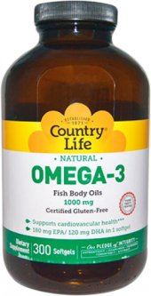 Жирные кислоты Country Life Omega-3 (Омега-3 рыбий жир) 1000 мг 300 капсул (015794044505)