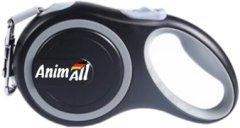 Поводок-рулетка AnimAll L до 50 кг, 5 м Серо-черный (2000981099268)