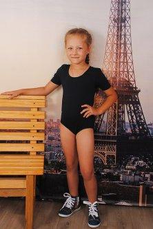 Спортивний купальник для танців і гімнастики з коротким рукавом 104-110 см чорний