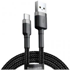 Кабель Baseus Cafule Cable USB for Type-C 3A 1 м Gray/Black (CATKLF-BG1)