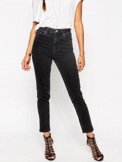 Чорні, завужені джинси із завищеною талією ASOS ASA010920-2 2XS (836962XS) Чорний