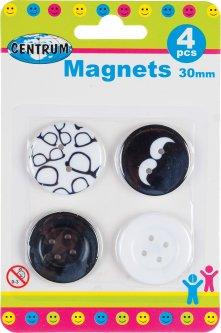 Набор магнитов Centrum 30 мм 4 шт Бело-черный (86633) (4030969866337)
