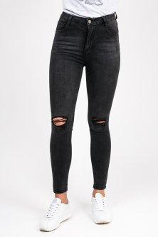 Черные джинсы с дырками на коленях - черный цвет, M