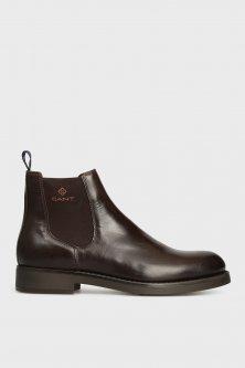 Чоловічі темно-коричневі шкіряні челсі Gant 40 17651904