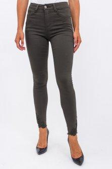 Джинсовые штаны с гипюровой вставкой Miss RJ - хаки цвет, L (40) (520YG)