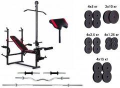 Скамья для жима с тягой RN-Sport 4 грифа, 115 кг блинов (ES1070_115)