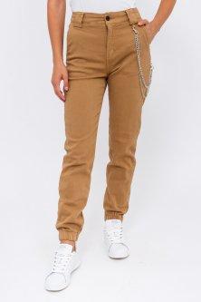 Женские джинсы с цепочкой - бежевый цвет, L (40) L (40)
