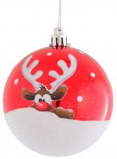 """Елочный шар Новогодько (YES! Fun) (973073) """"Красный олень"""" d-8 см Бело-красный (5056137141494)"""