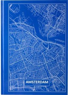 Записная канцелярская книга Axent Maps Amsterdam А4 в твердой обложке 96 листов в клетку Голубая (8422-507-A)