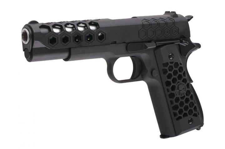 Пістолет WE COLT 1911 Hex Cut V. 3 GBB Black (Страйкбол 6мм) - зображення 1