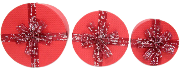 Набор подарочных коробок Ufo картонных 3 шт Красных (80303-001 Набор 3 шт RED круг.)